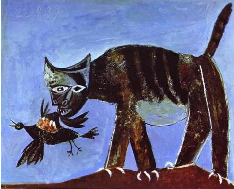 Pablo Picasso - Wounded Bird and Cat, 1938 - Oil on canvas.