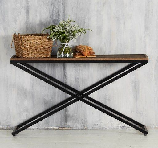Flamand Console. 140 wide & 40 deep. Might be slightly too wide for your entrance. Love the legs plus the timber top $890