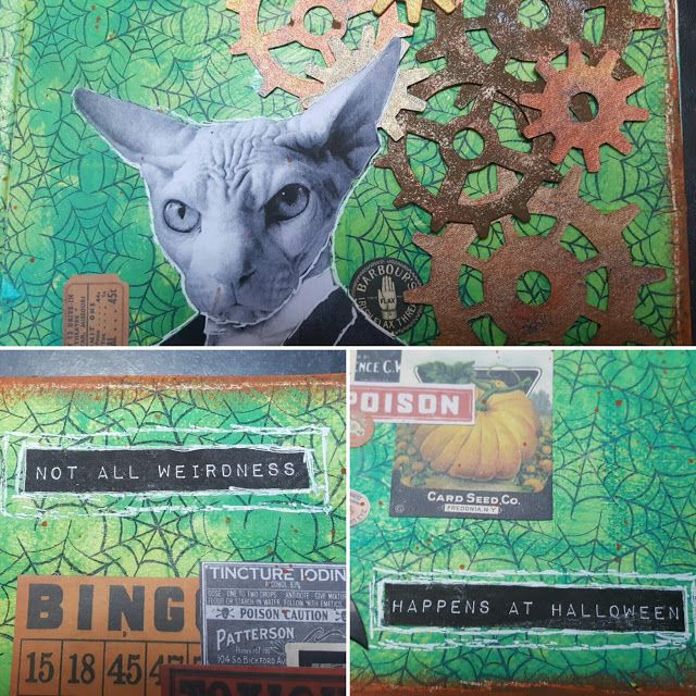 Halloween Art Journal page using a napkin background and ephemera from Tim Holtz and Mike Deakin.