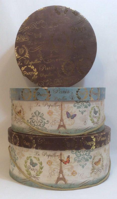 Tri-Coastal Conjunto De 3 Paris Borboleta Francês Lembrança de nidificação armazenamento de caixas de chapéu
