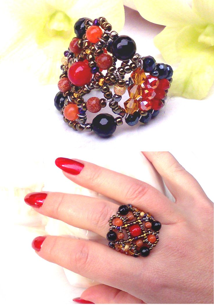 """Sheherezade Fire Agate"" Onyx Ring from Musesa Collection. Red Fire Agate, Onyx, Orange South America Topaz, Gold-filled beads, Goldstone, Swarovski Crystals. www.musesa.com"