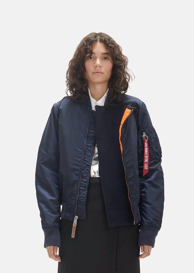 Lutz Huelle Alpha Industries Nylon Bomber Jacket Night Blue Size: Small
