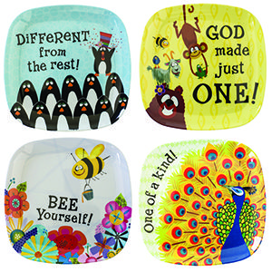 We LOVE these plates at our house!!! Great for Easter baskets!  Dishwasher Safe, not Microwave Safe. Message: God Made Just One! // Different from the rest! // One of a kind! // Bee Yourself!