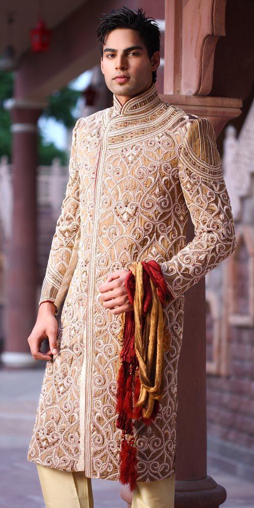 Gold Sherwani #MuslimWedding, #PerfectMuslimWedding, #IslamicWedding, www.PerfectMuslimWedding.com