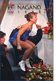 Tara Lipinski after winning gold at Nagano in 1998.