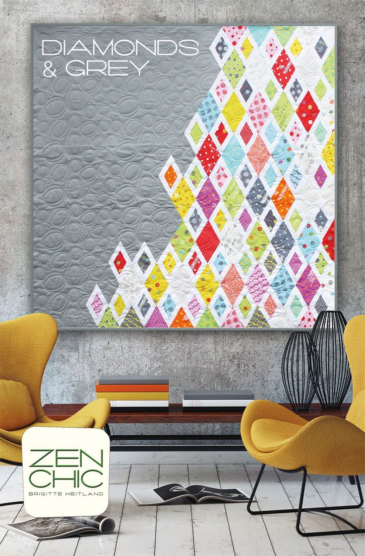 Eyecatching asymmetric setting in this modern quilt called DIAMONDS & GREY by ZEN CHIC. The fabric collection is HEY DOT for Moda and you can download your PDF-file instantly.
