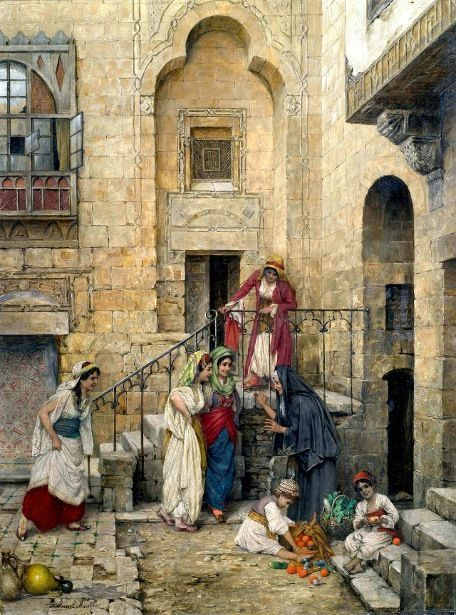 Harem Women in the Courtyard of a Palace - Daniel Israel ~1900