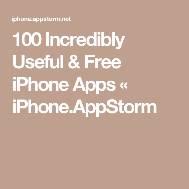 100 Incredibly Useful & Free iPhone Apps « iPhone.AppStorm