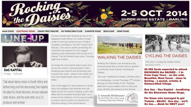 ALL tickes to #RockingTheDaisies SOLD out. 1 hr from #capetown, this has become an ICONIC festival.Das son headlining