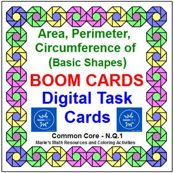 """This product contains 35 digital task cards. """"Boom Cards"""" are digital and self-checking task cards that can played on their desktops, laptops, netbooks, chromebooks, ipads, iphones, android tablets and phones, or kindle-fire tablets. Problems included are on finding the perimeter, area, and circumference of basic shapes and compositions."""