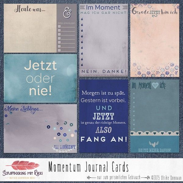 Deutschsprachige Journaling Karten zum Thema Momentum
