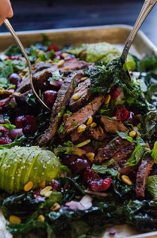 Massaged Kale Salad With Cherries, Pistachios & Grilled Flank Steak by @SoLetsHangOut // www.soletshangout.com