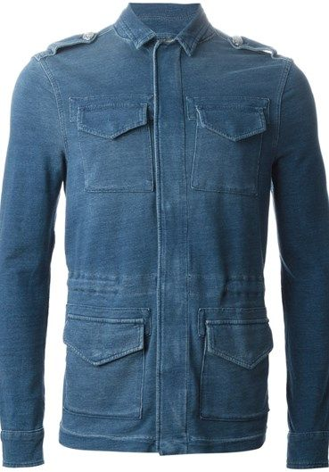 Blue stretch cotton denim field jacket from Hydrogen.