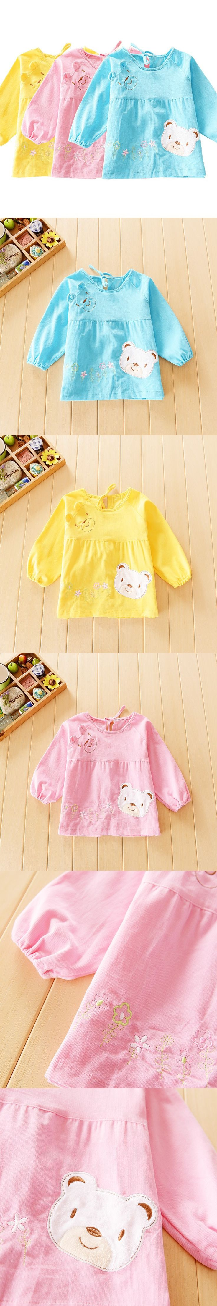 New Toddler Coverall Feeding Baby Long Sleeve Bib Apron With Cute Animals And Waterproof Backing Saliva Burp Apron Overclothes $4.99