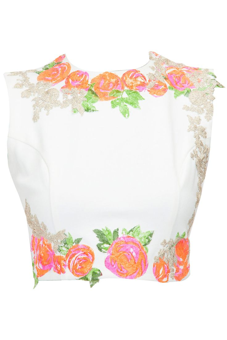 Ivory crop top with pink floral detailing available only at Pernia's Pop-Up Shop.