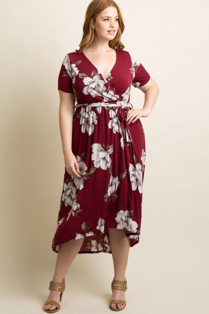 a2b50b87d0274 Burgundy Floral Hi-Low Midi Plus Size Dress   服装 in 2019