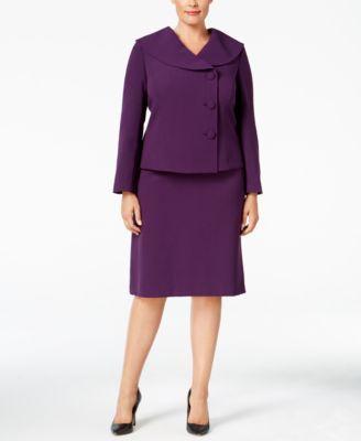 Tahari ASL Plus Size Three-Button Shawl-Collar Skirt Suit | macys.com