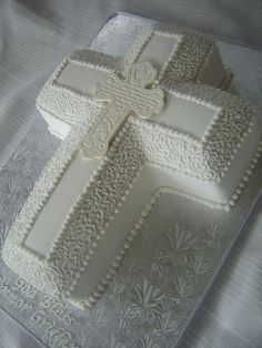 First Communion Cross Cake on Cake Central