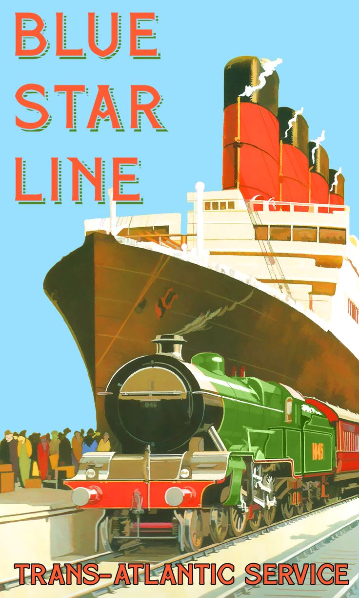 Blue Star Line - transatlantic crossing service vintage travel poster