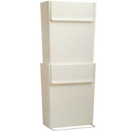 ¥ 4,504 20リットル×2 幅36×奥行21.7×高さ43.1cm   シンクの下に入れば  plywood オリジナル スマート エコ トラッシュカン [ 2個セット ] 分別シール付 ごみ箱 [ ホワイト ]
