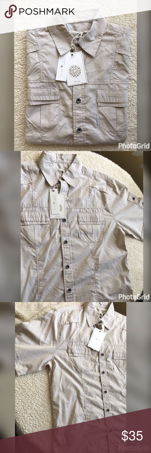 """NWT men's Five Four khaki shirt size large NWT men's size large khaki shirt by Five Four. Style name is """"Sea Quest"""". Short sleeve with two from pockets. Really nice shirt Five Four Shirts Casual Button Down Shirts"""