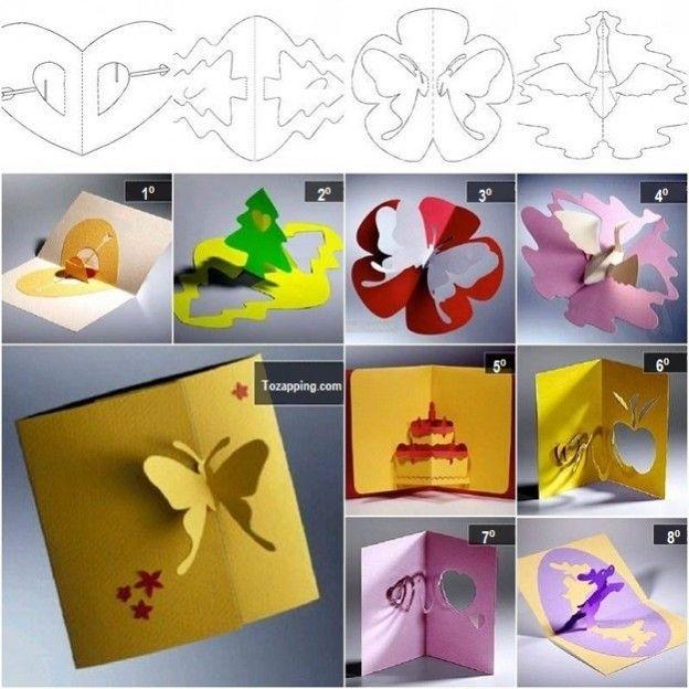 Tarjetas de felicitación kirigami 3D DIY con plantillas creativas.