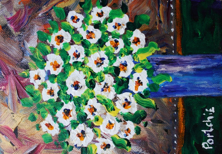 White roses: Acrylic - Alice Art Gallery -