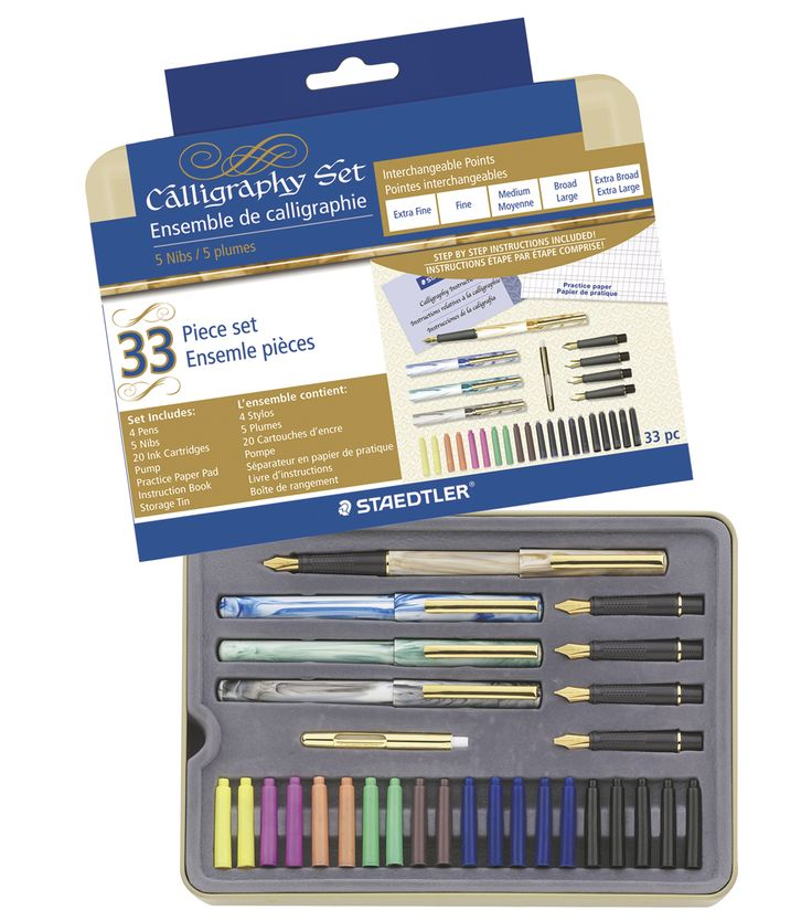 STAEDTLER-Calligraphy Pen Set.  A complete calligraphy set that is perfect for beginners.  This set contains four beautiful pens with a faux-marble finish and comfort grips, five nibs (extra fine, fin
