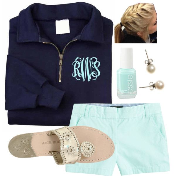 Mint Monogram by hannahsiebert on Polyvore featuring J.Crew, Jack Rogers and Essie