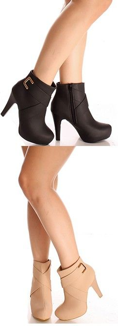 Look booty-licious in these buckle booties! They feature a vegan leather material, side zipper, buckle accents, and a high heel.