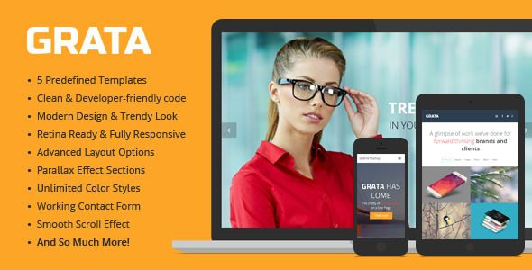 GRATA - Multipurpose One Page HTML Template   http://themeforest.net/item/grata-multipurpose-one-page-html-template/8086576?ref=damiamio          GRATA is made for the artists in a broad sense. For those who want to express their ideas and meanings in a simple way. Just take the ready mainstream tools and add your personal details to make a really top-notch website quickly and easily.  GRATA is a professional responsive HTML5 template, developed with great attention to details. It combines…