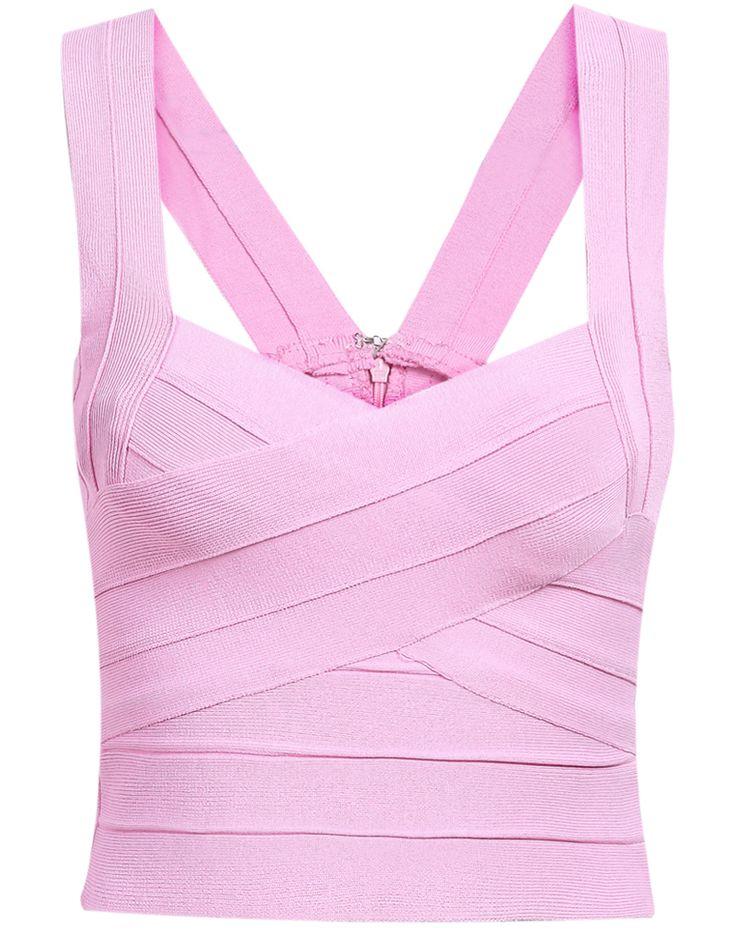 Pink Strap Bandage Crop Vest 19.50