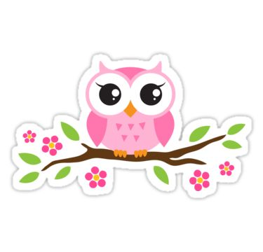 """Cute pink cartoon baby owl sitting on a branch with leaves and flowers""…"