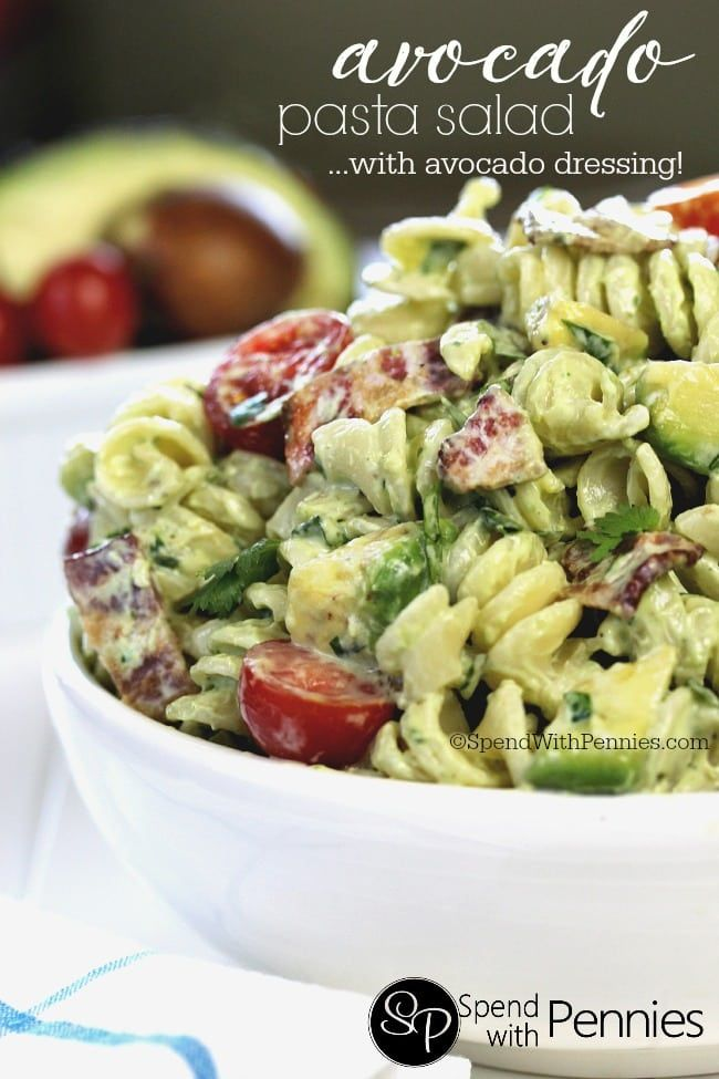 Cold pasta salads are the perfect & satisfying quick dinner or lunch! This delicious avocado pasta salad recipe is loaded with avocados, crispy bacon & juicy cherry tomatoes tossed in a homemade avocado dressing