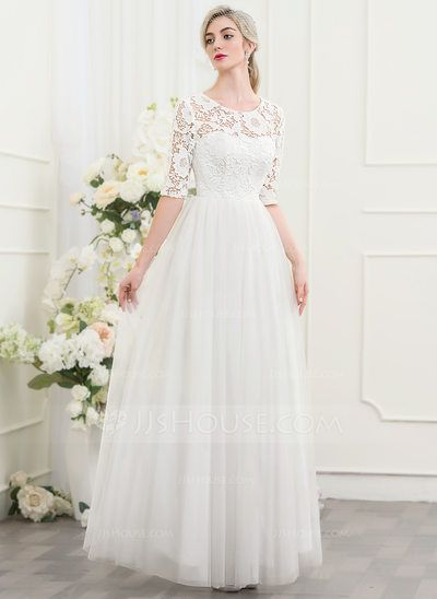 A-Line/Princess Scoop Neck Floor-Length Zipper Up Sleeves 1/2 Sleeves Hall General Plus No Winter Spring Summer Fall Ivory Tulle Height:5.7ft Bust:33in Waist:24in Hips:34in US 2 / UK 6 / EU 32 Wedding Dress