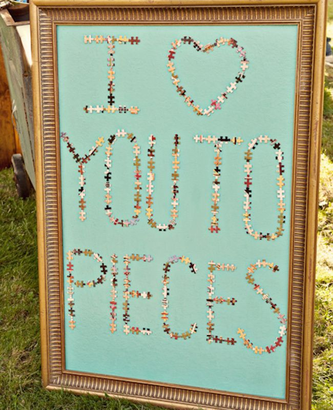 I <3 you to pieces written in puzzle pieces. TOO CUTE! Photo by: Ashley Maxwell Photo