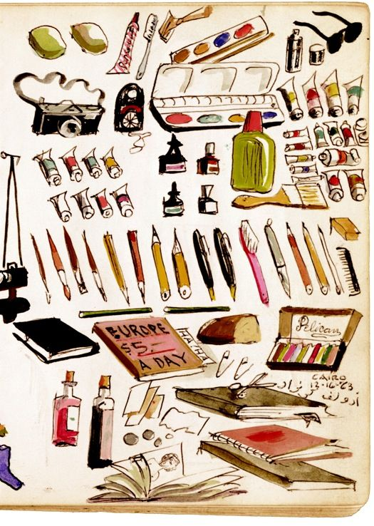 To-Dos, Illustrated Inventories, Collected Thoughts, and Other Artists' Enumerations by Liza Kirwin - this piece is by artist Adolf Konrad. The goodies were in Knopf's suitcase to Cairo in 1963. All the lists hail from the Smithsonian collection.