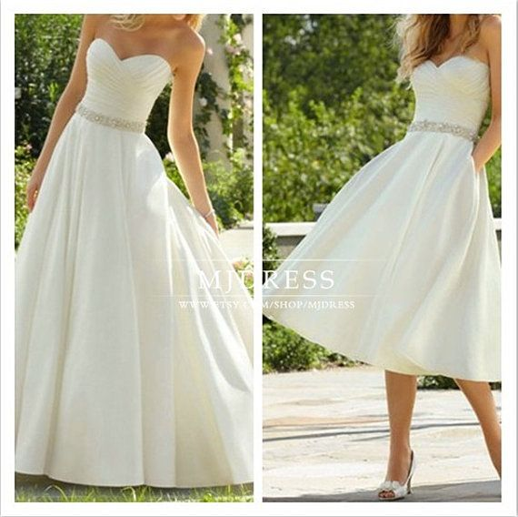 Long / Short Wedding Dress Sweetheart Satin Bridal Wedding Dresses Formal Dress, simple beach wedding dress beaded