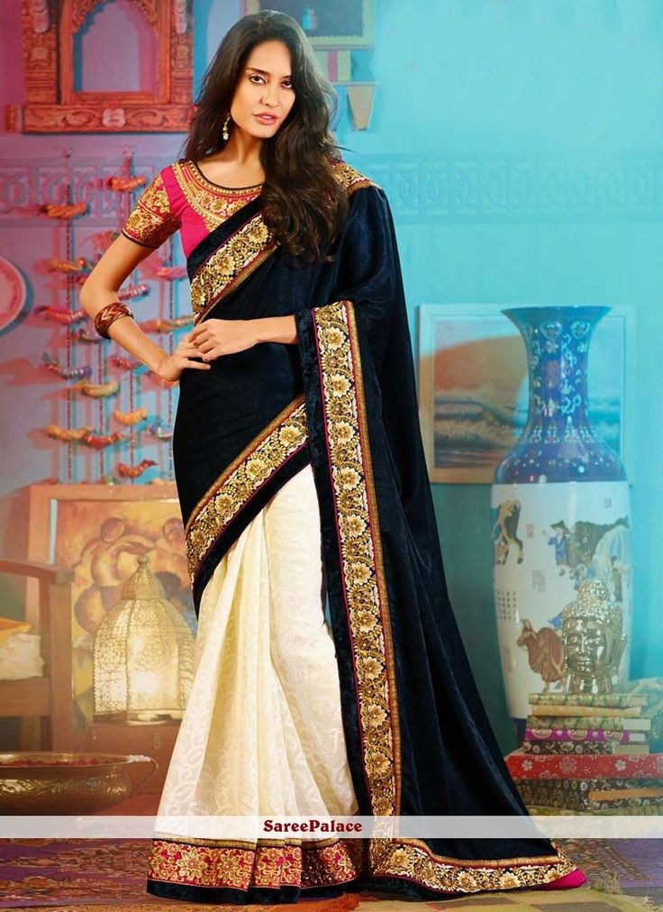 Cream And Navy Blue Bandhani Georgette Jacquard And Velvet Saree