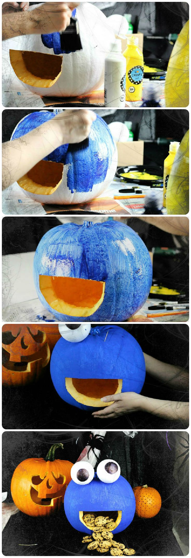 How to make a cookie monster pumpkin in 5 simple steps.