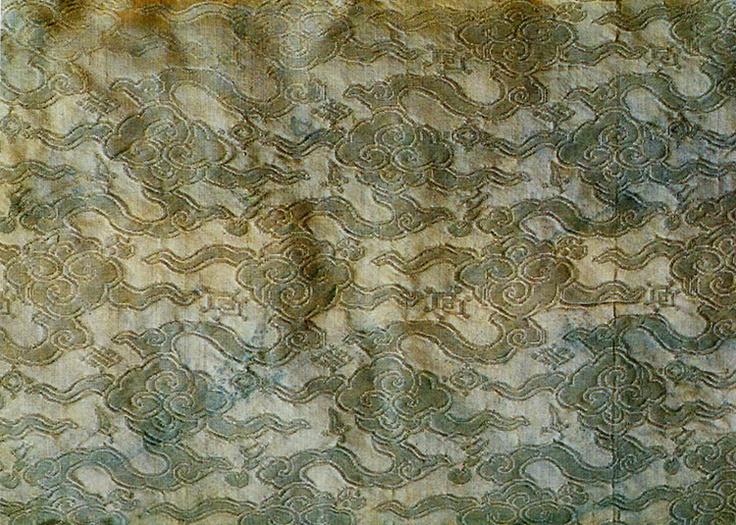 Silk brocade, originally blue. From a jingnyeong (overcoat worn by men) belonging to Gwanghaegun or Prince Gwanghae (1575 – 1641; reigned 1608–1623). Important Folklore Cultural Heritage 3-1.