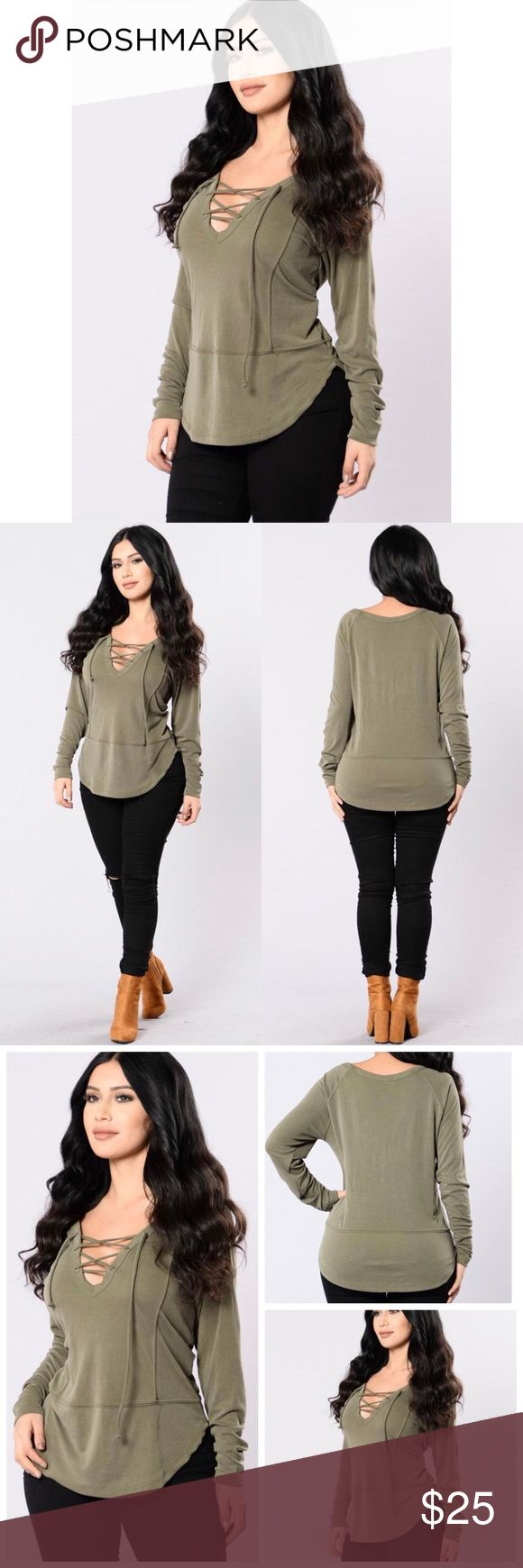 ☪️Fashion Nova Olive Lace Up Long Sleeve Brand is Fashion Nova Size is Small Excellent Condition  Olive Green Color  No Rips Stains or HolesEXACT item is being modeled in the pictures!  Stretchy material Price is FIRM  I Ship Same Day or Next Day Latest!  I Do NOT Trade  Fashion Nova Tops Blouses