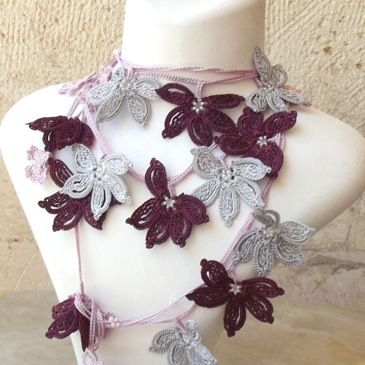 Turkish OYA Lace - Lariat necklace - Windmill - Purple Crocheted Jewelry Wedding Bib Flowers Accessories Dresses Jewelry by DaisyCappadocia on Etsy