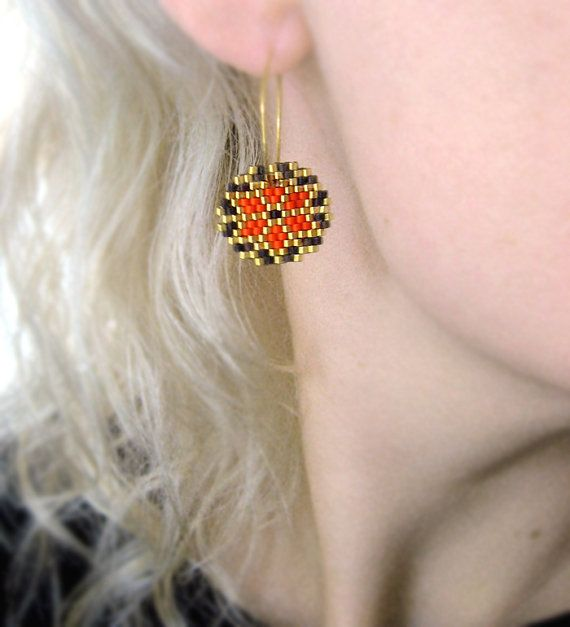Earrings - Orange Retro - Bright Orange, Dark Chocolate Brown, 24k Gold plate - 24k Gold plated sterling silver hoops on Etsy, 380,00 kr