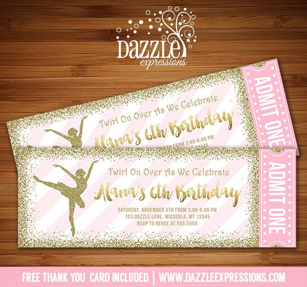 Printable Pink and Gold Glitter Ballet Ticket Birthday Invitation | Ballerina Party | Dance Party | DIY Print Your Own | Digital File | FREE thank you card included | Printable Matching Party Package Decorations Available! | Banner | Signs | Labels | Favor Tags | Water Bottle Labels and more! www.dazzleexpressions.com