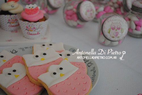 Búhos rosados en el festejo de Amanda. Bautismo, cumpleaños, baby shower, buhos, lechuzas, owl, pink,
