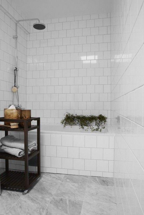 50 Amazing Scandinavian Bathroom Designs : 50 Amazing Scandinavian Bathroom Designs With White Ceramic Wall Floor And Wooden Table And Green Plants Ornament