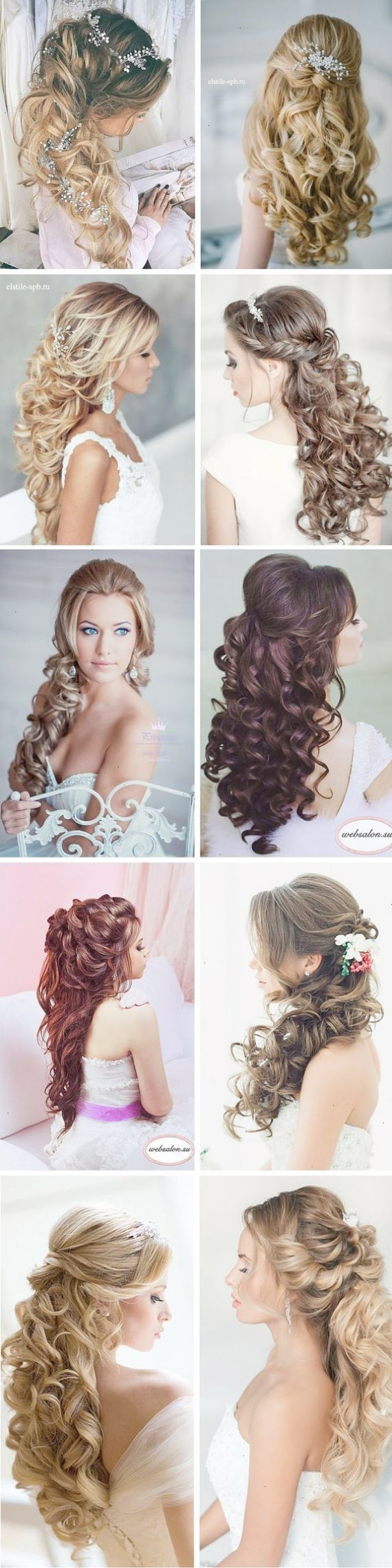 best half up curly hair images on pinterest wedding hairstyle