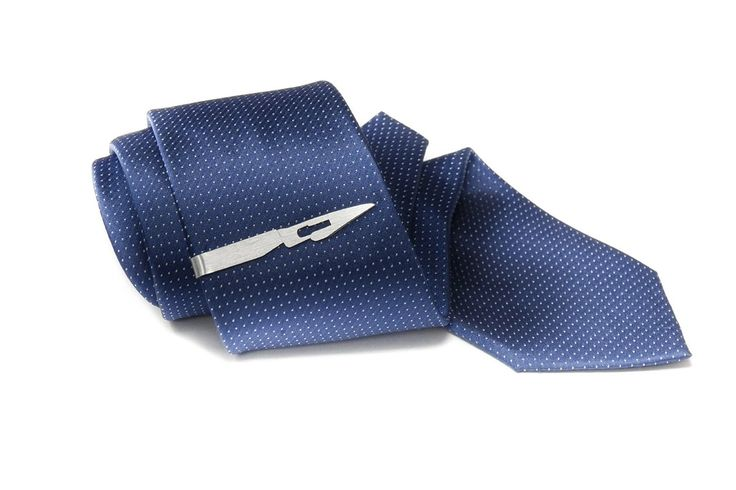 Scalpel tie clip // Handmade // Sterling Silver
