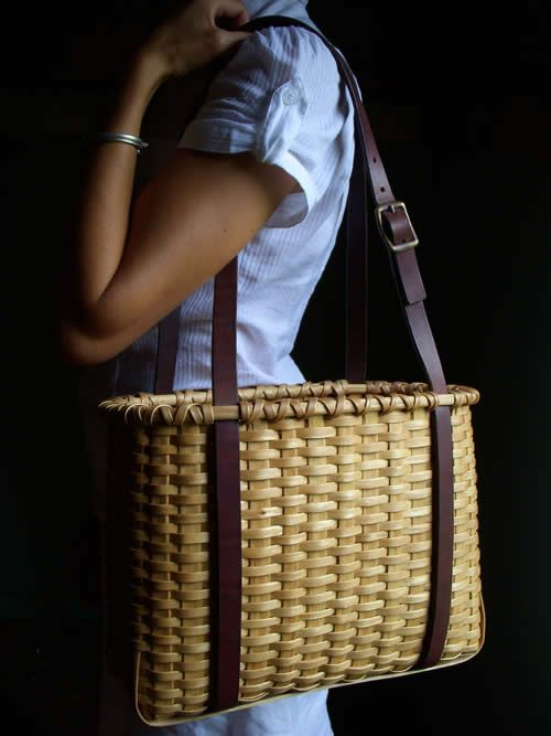 A way to use old leather belts on a basket
